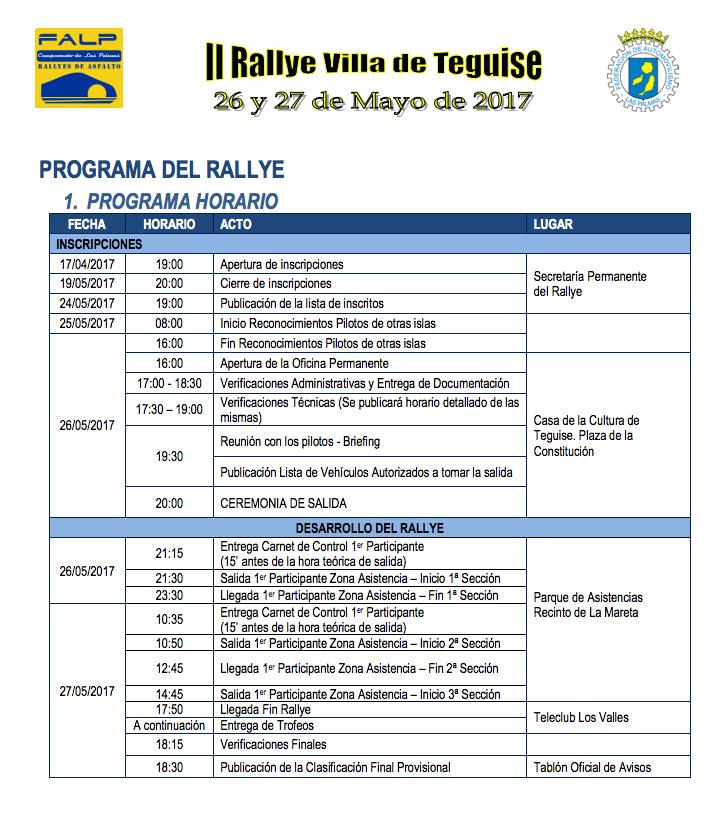 Rallye Villa de Teguise 2017 programa